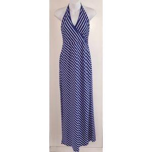NWOT Halter Blue White Stripe Sundress, Medium